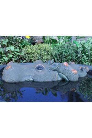 Beelden en drijvende vijverfiguren  Nijlpaard met Jong 33cm - Drijvend Vijverfiguur