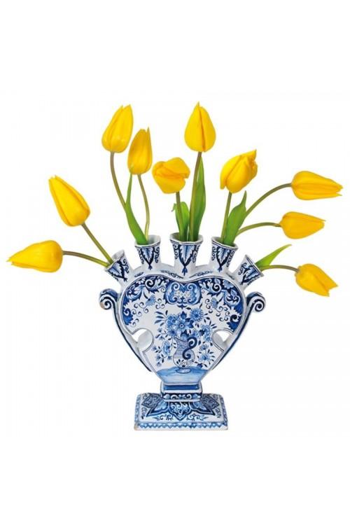 Gele tulpen in Delfts Blauwe Tulpenvaas - Flat Flower