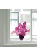 Roze Orchidee - Flat Flower Raamsticker