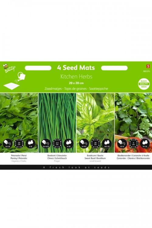 Seedmats Kitchen Herbs Seedmat 4 x 20x20cm
