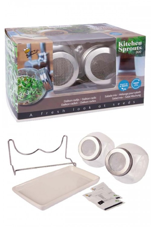 Kitchen Sprouts Duo - set sprouting jar grow pot